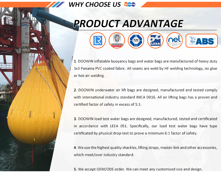 Vessel Proof Load Testing Lifeboat Water Weight Bag