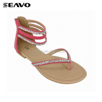 e26114a4f SEAVO fashion formal design sexy feet fancy ladies low price custom flat  sandals