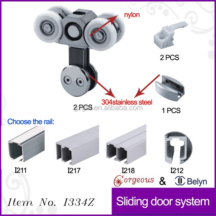 Sliding Door Tracks And Roller Sliding Wood Door With Two Wheels