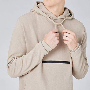 Man's long sleeve middle pocket zipper pullover cool and fashion hoody