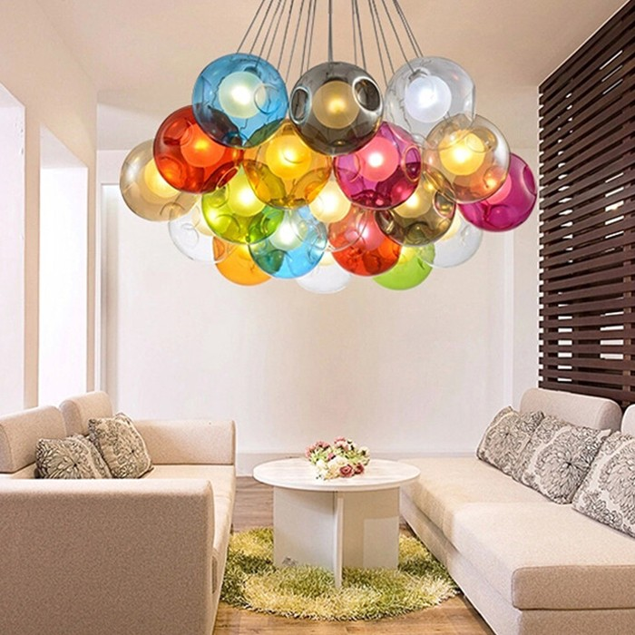 Blown multi colored glass ball chandelier pendant light buy blown blown multi colored glass ball chandelier pendant light aloadofball Images