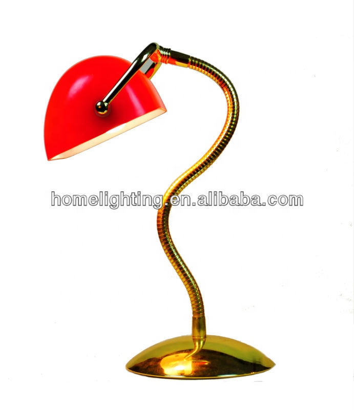 M 10883 Tuning Light Adjustable Gold Table Lamp Red Bankers Desk