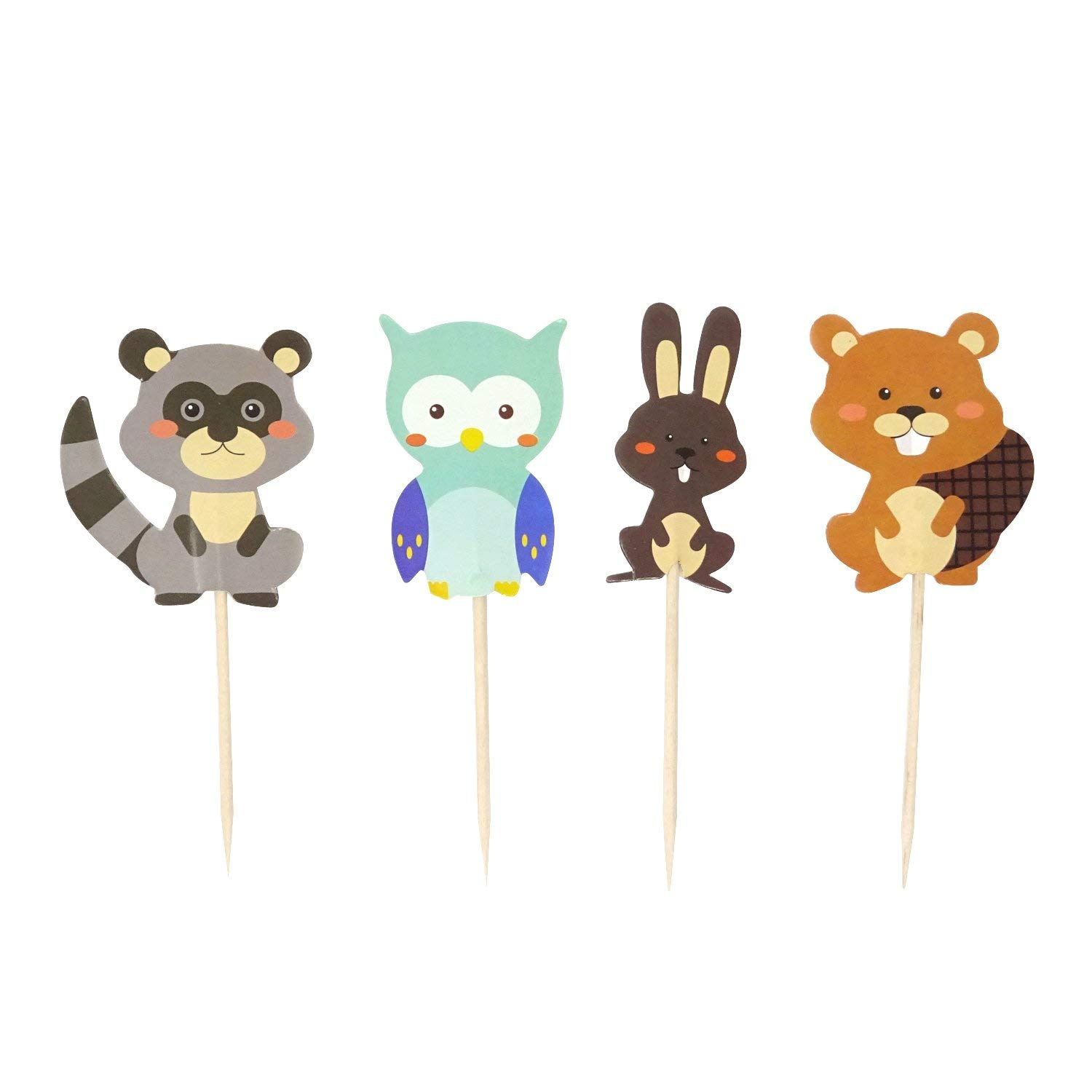 Honbay 48PCS Cute Woodland Creatures Theme Dessert Muffin Cake Cupcake Toppers Picks Forest Animal Friends Cake Decoration,Rabbit, Squirrel, Racoon and Owl
