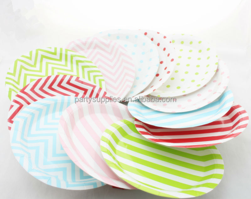 9\u0027\u0027 Disposable Round Chevron Fancy Paper Plates for Afternoon Tea All kinds of Party  sc 1 st  Xiamen Palmy Import \u0026 Export Co. Ltd. - Alibaba & 9\u0027\u0027 Disposable Round Chevron Fancy Paper Plates for Afternoon Tea ...