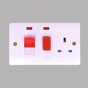 All copper material 45A switch + 13A socket with neon 3x6 size cooker control switch