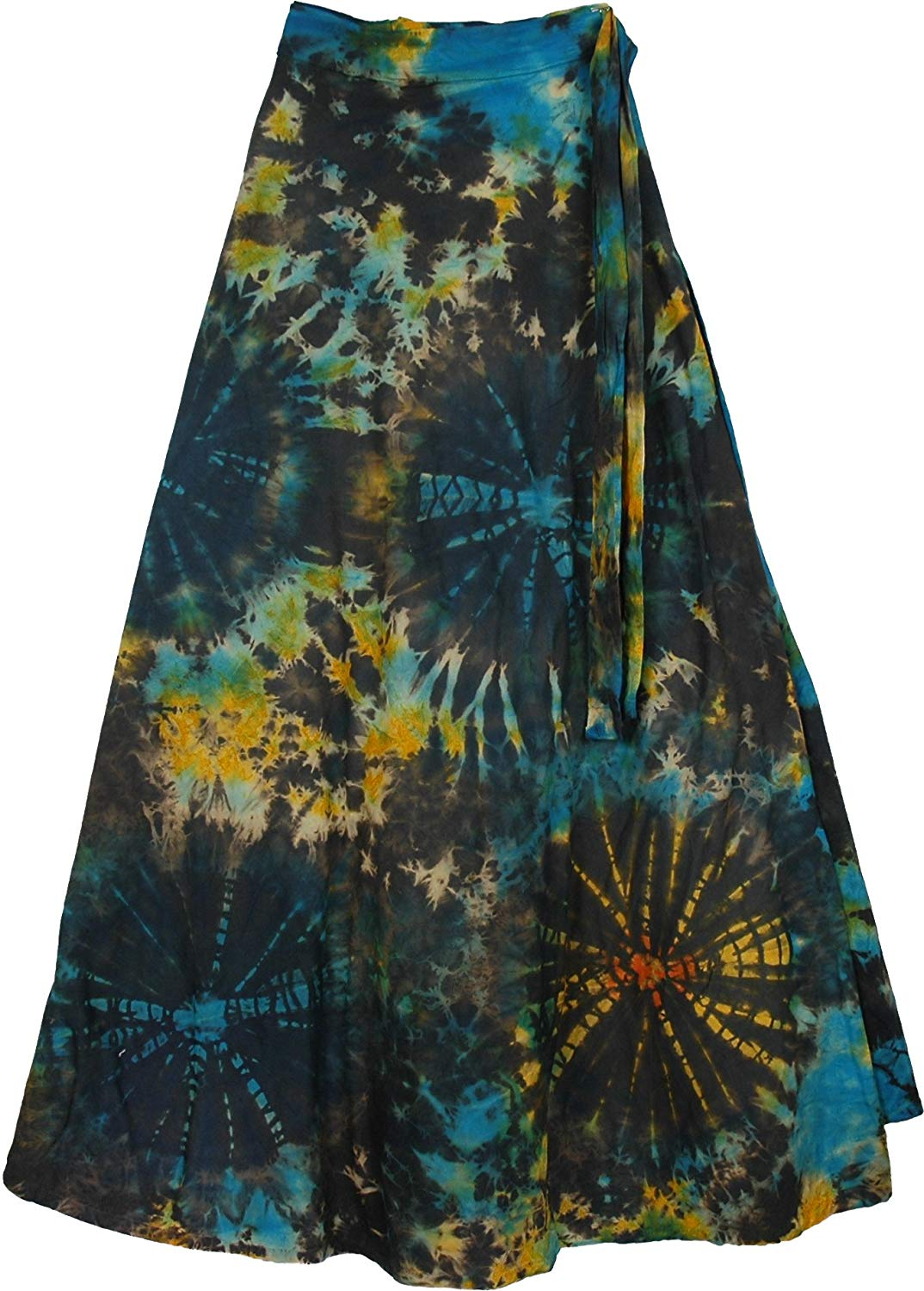 TLB Roma Bohemian Wrap Around Long Skirt - Black Tie Dye L: 37.5