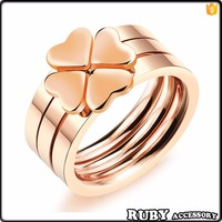 Fashion jewelery rose gold stainless steel/titanium clover combination rings for women