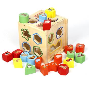 19 Hole Intelligence Box Hole Children S Educational Animal Wooden
