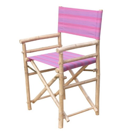 Zew Hand Crafted Foldable Bamboo Director's Chair with Treated Comfortable Striped Canvas, Set of 2 Folding Chairs, Fuchsia