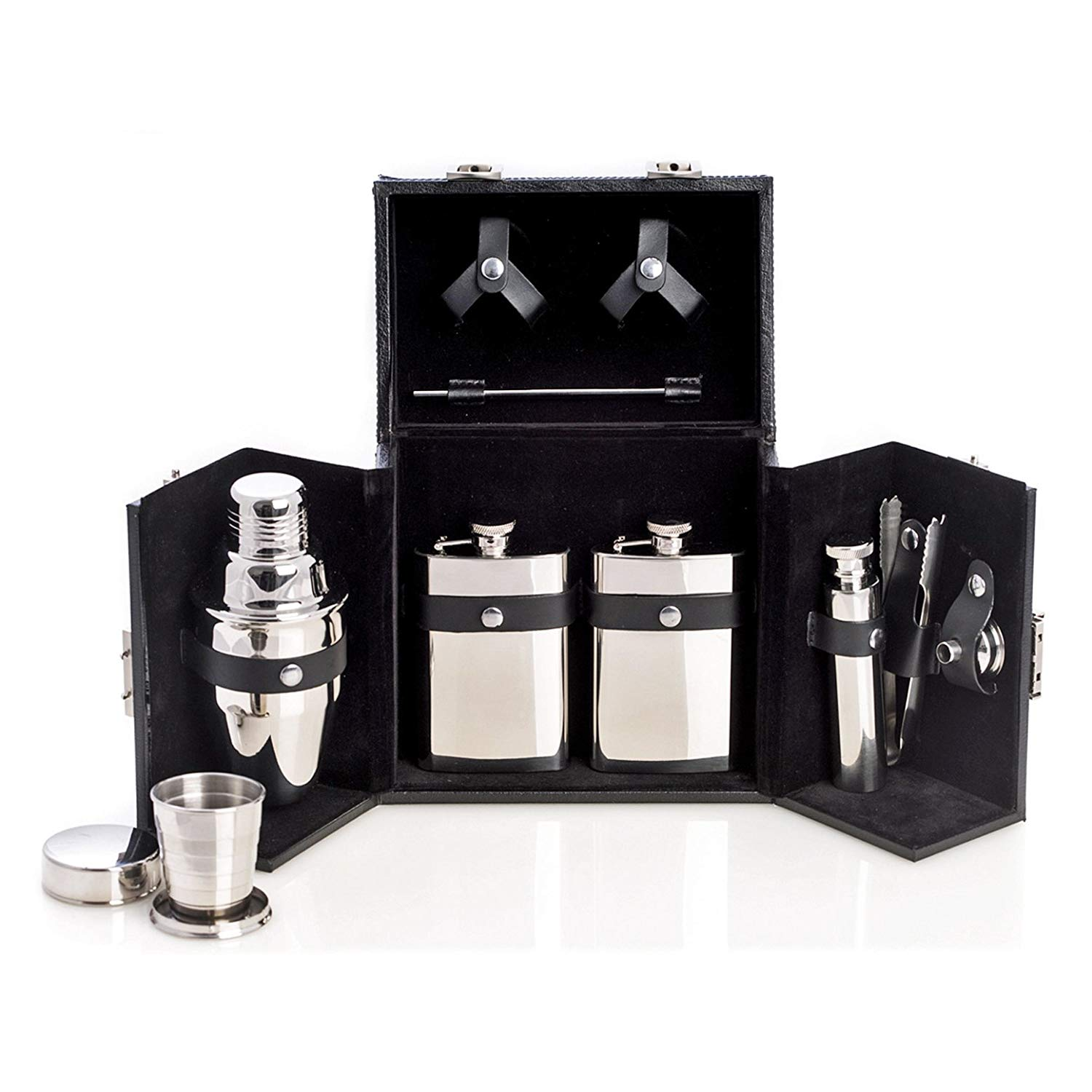 523d10e0722af Travel Bar Set - 10-pc Stainless Steel Travel Bar Set in Black Leather Case