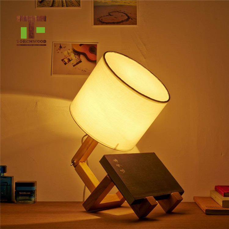 hot design adjustable Wooden bed sofa side Table Lamp for living room