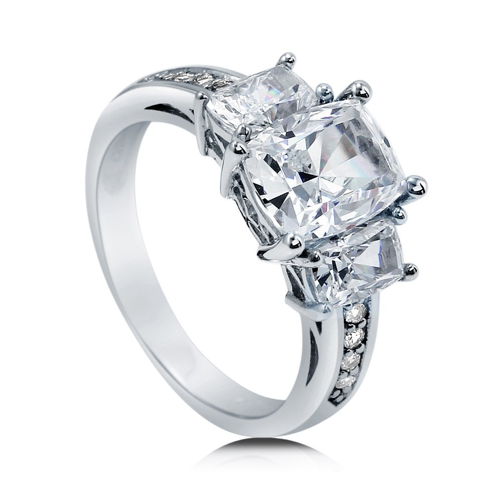 925 Sterling Silver Cushion CZ 3-Stone Ring R500439