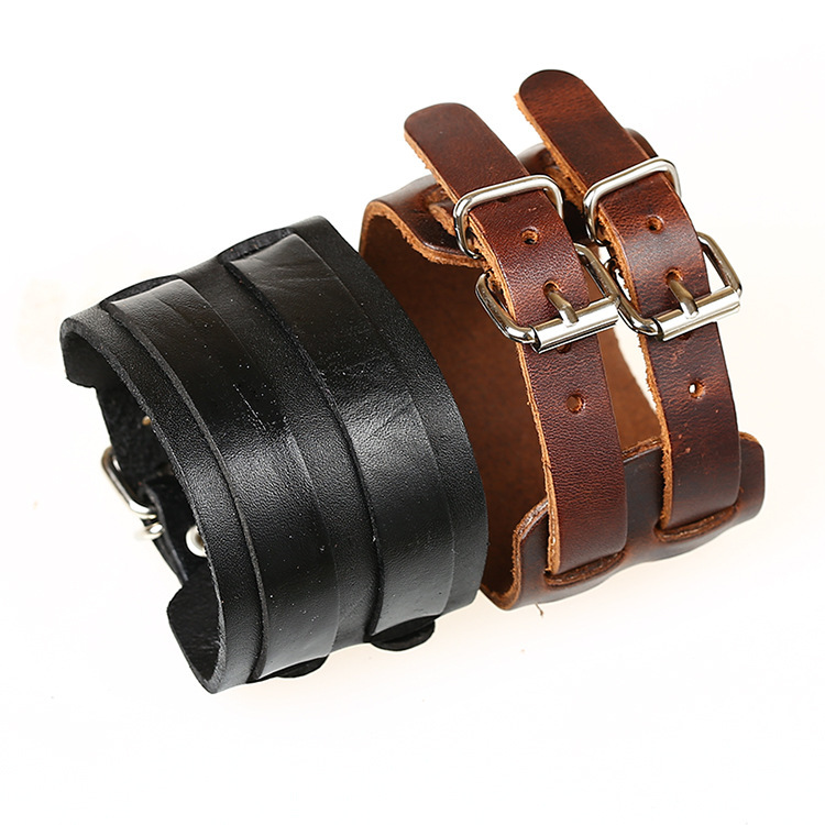 Popular Jewelry X-shape Silver Alloy Adjustable Leather  Bracelet Unisex