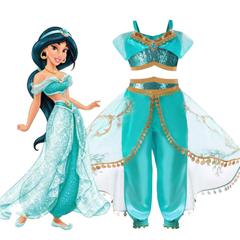 Kids Aladdin Costume Princess Jasmine Cosplay Outfit Girls Suit Pant Fancy Dress Top + Pants Dress Costumes Set