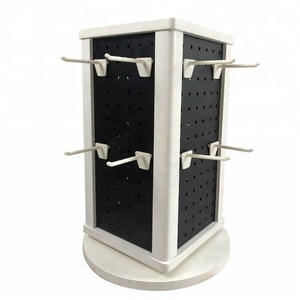 Rotating table top wood and pegboard bracelet display stand
