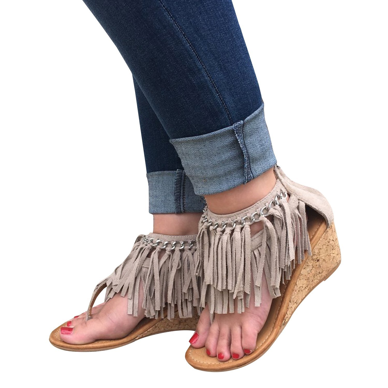 b8bb243f3b208 Get Quotations · Doubleal Women s Thong Wedges High Heels Fringe Platform  Sandals