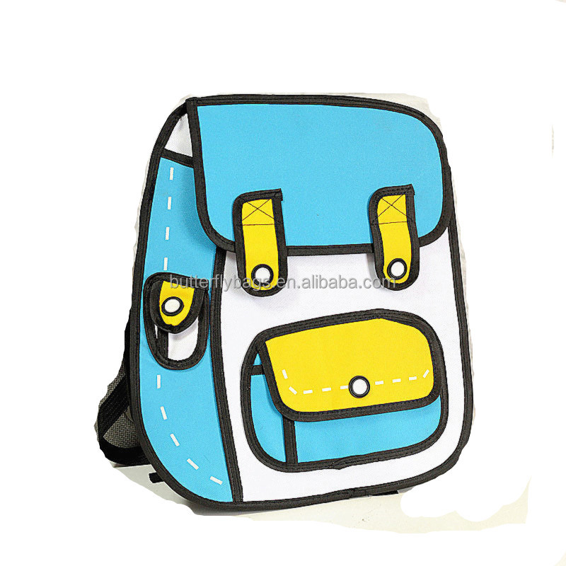 Cute 2D 된 로고와 만화 3D School Bag 대 한 kids Backpack