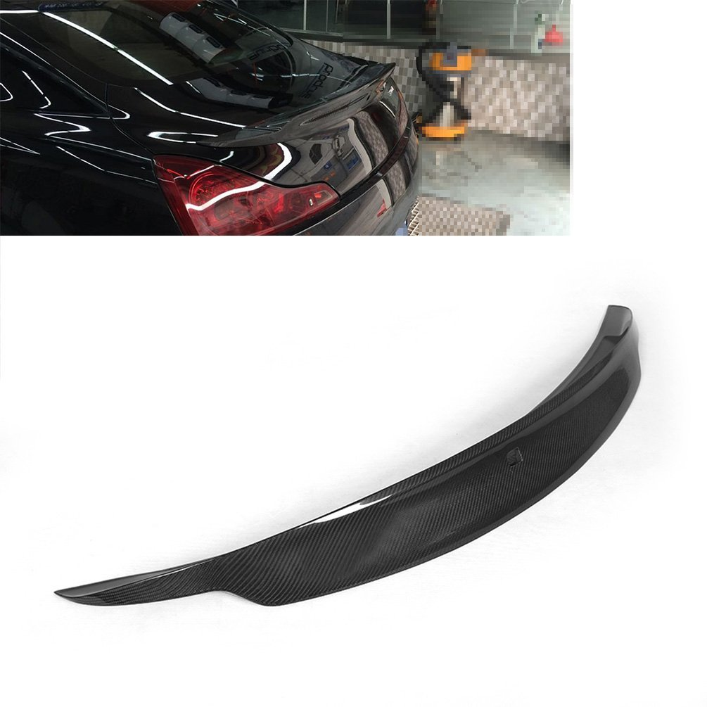 JCSPORTLINE Car Spoiler for 2009-2013 Infiniti G37 2-Door Carbon Fiber Rear Trunk Lip Spoiler Wing(Fits:G37)
