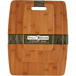 Totally Bamboo 3-Piece Organic Bamboo Cutting Board Set with Handle! Perfect for transporting a divine cheese tray to all your chopping board needs such as vegetables, meat or garnishes.