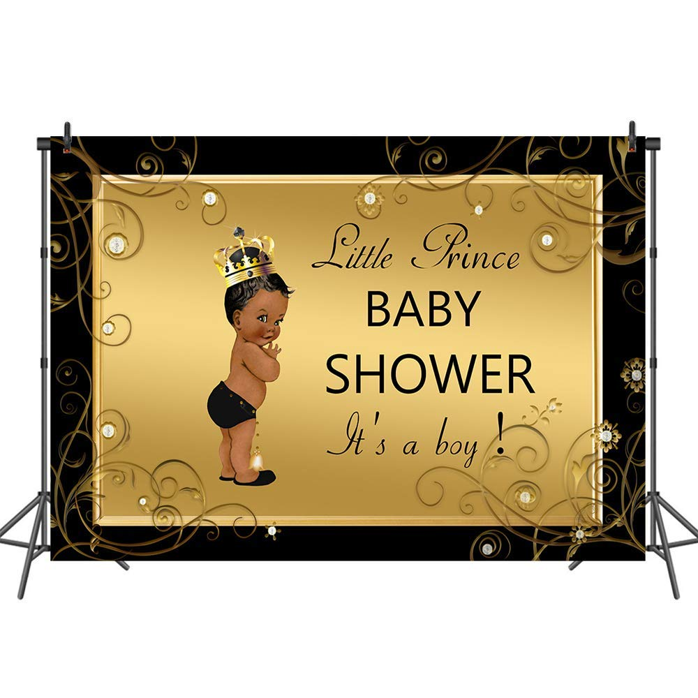 Mehofoto Royal Black Baby Shower Backdrop Black Little Prince Photo Background 7x5ft Welcome Baby Boy Backdrops Banner for Newborn Boys
