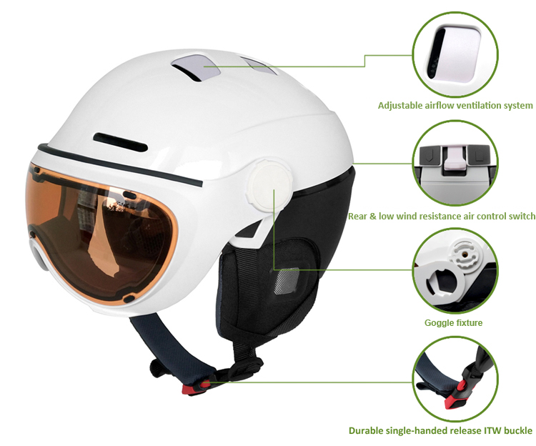 New products alpine ski helmet with goggle 5