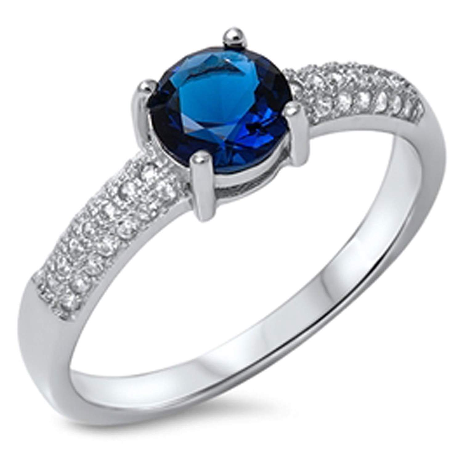 Noureda Sterling Silver Classy Round Cut Blue Sapphire Cz Micro Paved Band Ring with Center Stone Size of 6MM