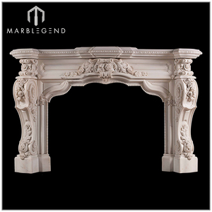 Luxury French Style White Marble Fireplace Mantels with Hearth