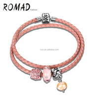 Rose Pink diamond women leather bracelet fashion jewelry women silver plated love heart ladies pearl bracelet