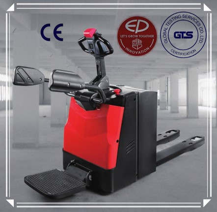Top-rated 2 ton rider type electric pallet truck with foldable platform arms and electric power steering ZAPI controller