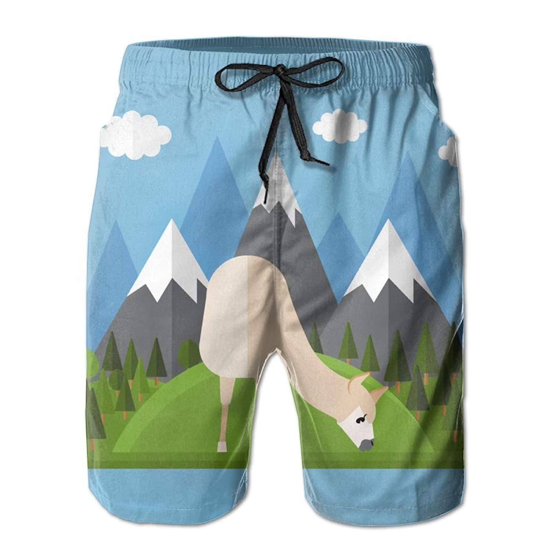 1801704e57 Get Quotations · Kurabam Beach Volleyball Shorts, Mountain Llama Summer  Casual Shorts for Men Boys, Outdoor Short