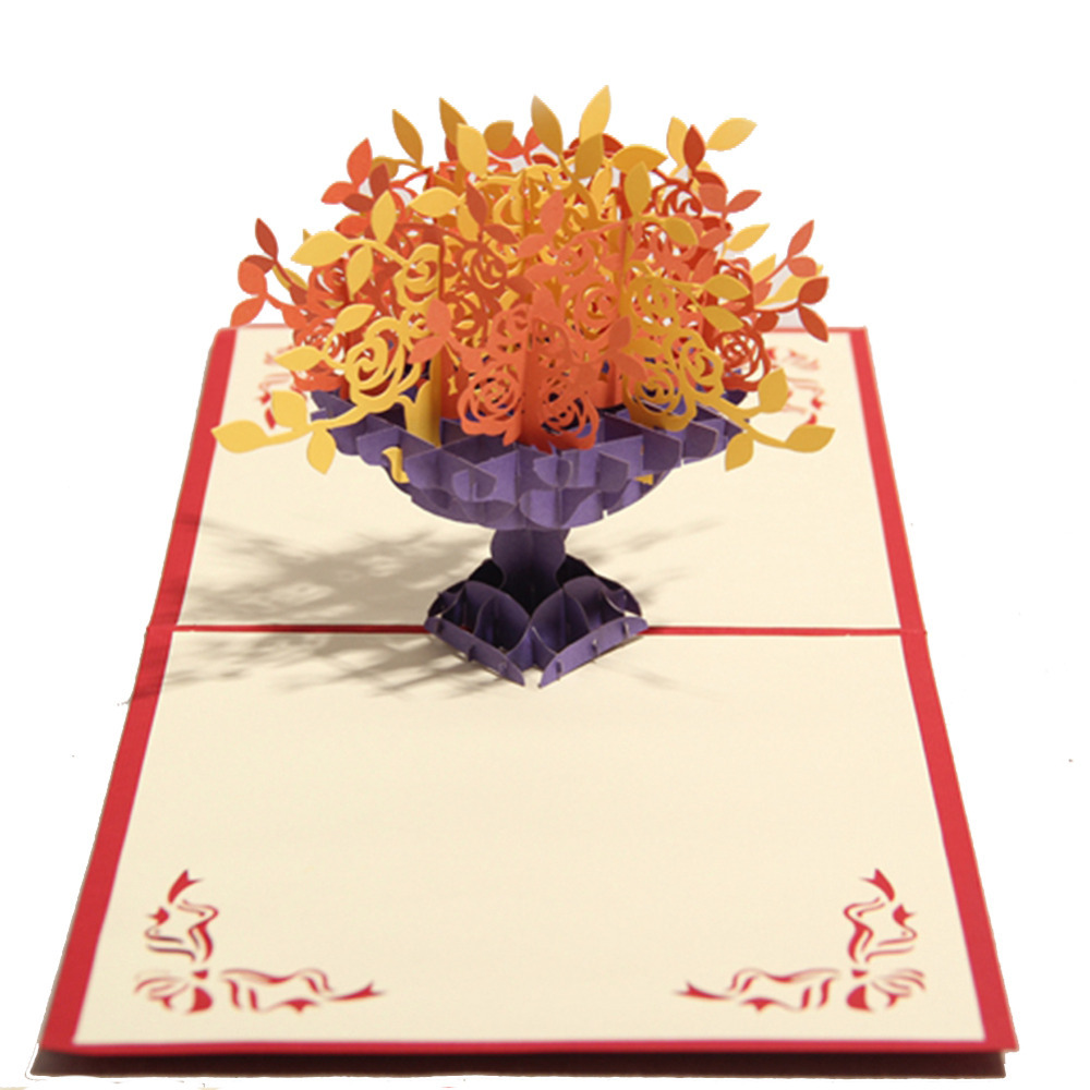 Get Quotations Many Rose Handmade Creative Kirigami Origami 3D Pop UP Greeting Gift Cards Thank You
