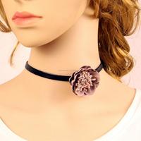 Fashion Black PU leather Fabric Flower Choker Collar Necklaces Women