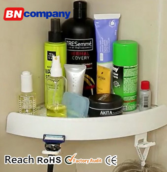For Shampoo No Drilling No Rust Adjustable Adhesive Shower Bathroom Shelf
