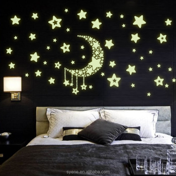 Marvelous Modern Wall Decor Shine Moon Star 3d Glow In The Dark Wall Stickers Decal  Home Decor