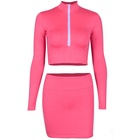 wholesale 2018 autumn Slim thin long-sleeves jacket bag hip skirt suits neon color top and skirt set
