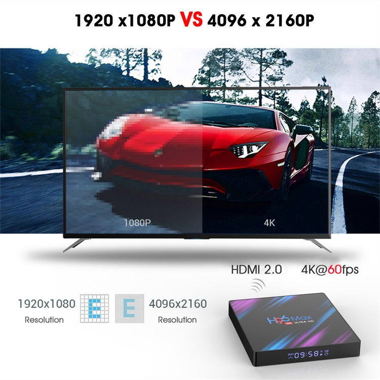 Topleo diseño moderno android 9,0 tv box 4k HDR10 decodificador de vídeo H96 Max RK3318 set top box