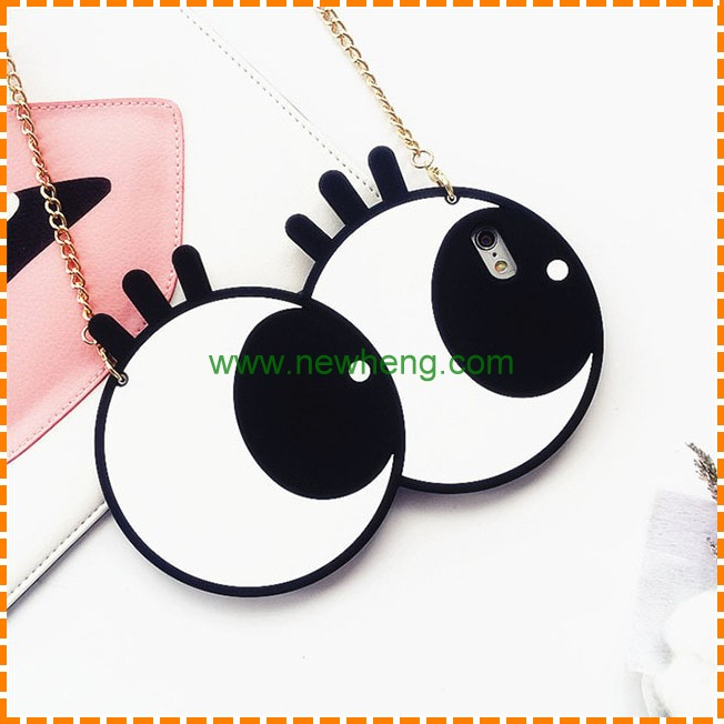 Fashion 3d dynamic big cute cartoon eye soft rubber silicone back cover case for iphone 7 plus