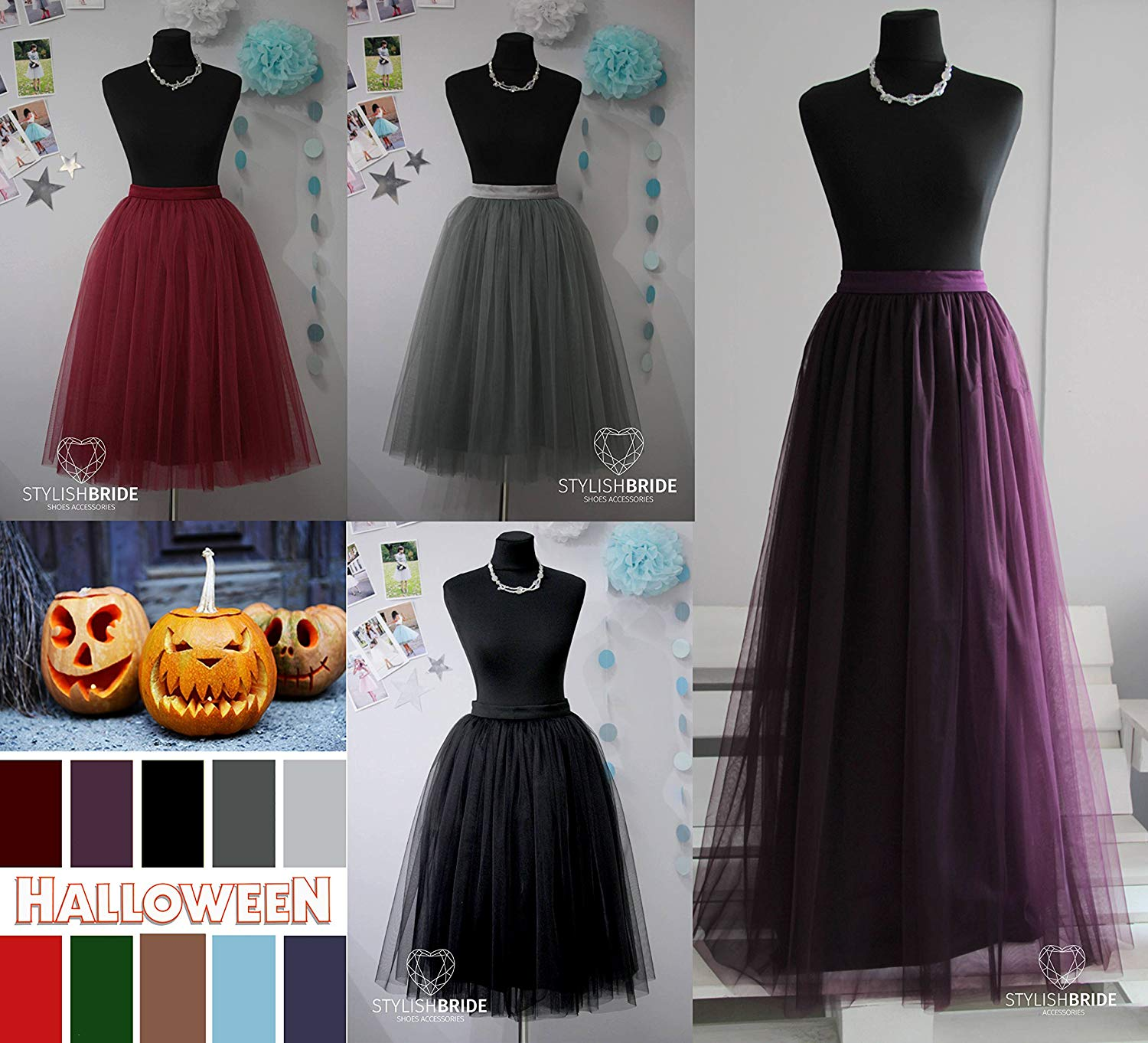 df4f2d791f Get Quotations · Halloween Colors Tulle Skirt Casual Women's, Wine Gold  Grey Black Emerald Green Tulle Skirt,