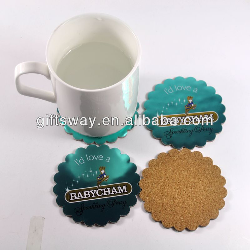 Made in china craft-good quanlity eco-friendly bright silver cork coaster for decoration