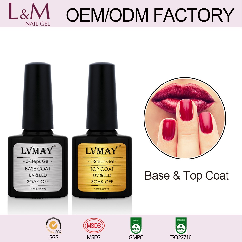 Base and top coat UV/LED color Gel Polish LVMAY Profession Gel Nail Supplier