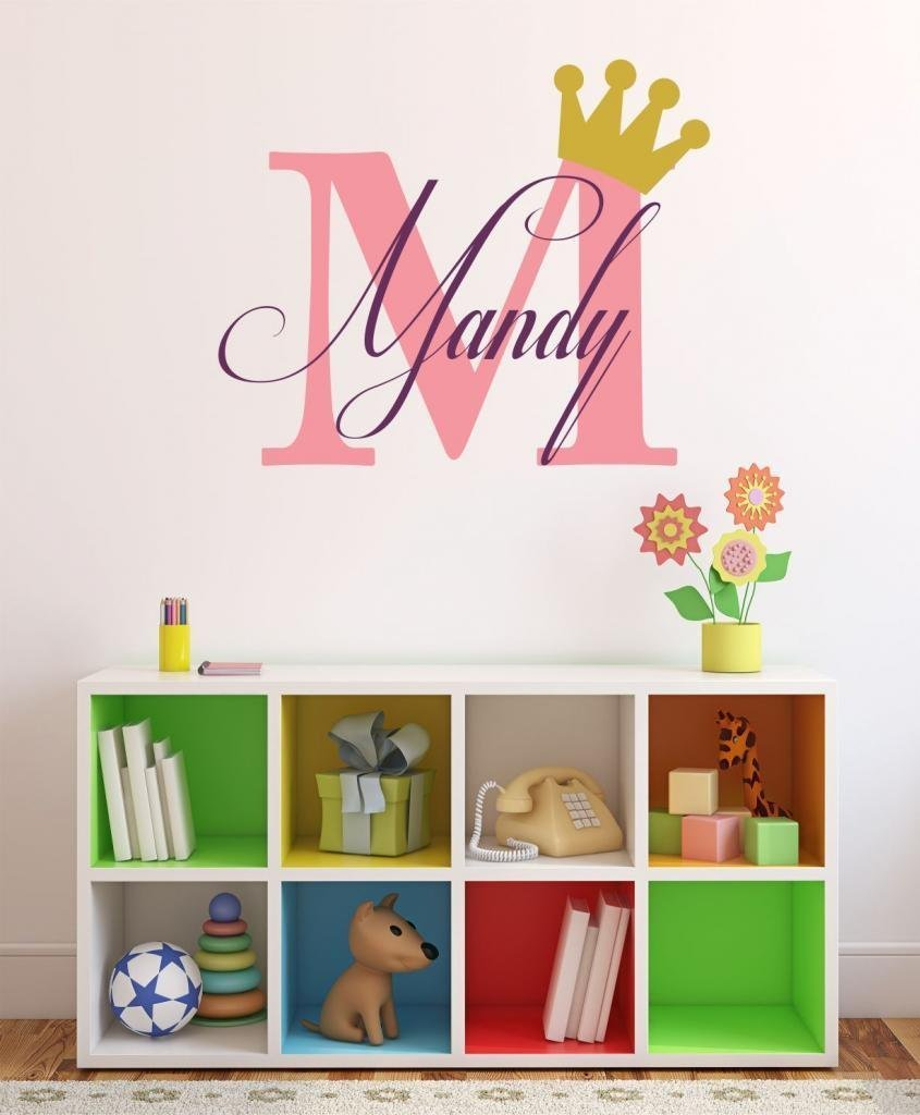 "Baby Girl Initial Personalized Custom Name Vinyl Wall Decal 40"" W by 23"" H, Girl Name Wall Decals, Wall Decal, Name Wall Decal, Nursery Name Decal, Girls Names, PLUS FREE WHITE HELLO DOOR DECAL"