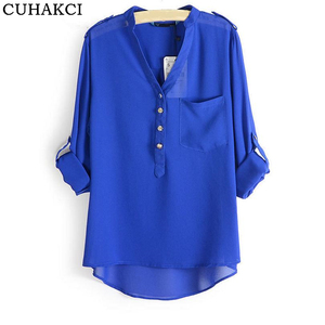 Factory Direct Sale Chiffon Blouse Design Long Sleeve Sheer Tops Female V Neck Slim Shirts