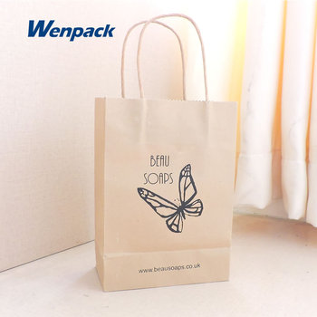 custom printed logo gift shopping brown kraft paper bag