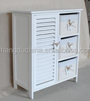 3 Drawers White Wood Storage Cabinet