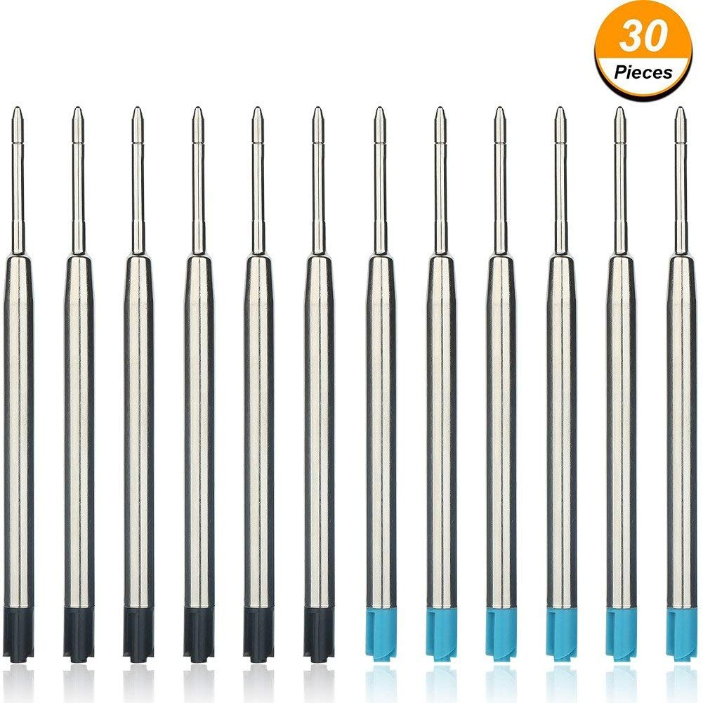 30 Pieces Metal Ballpoint Pen Refills Smooth Writing Ball Point Pen Refills Replacement (15 Pieces Black Ink, 15 Pieces Blue Ink)
