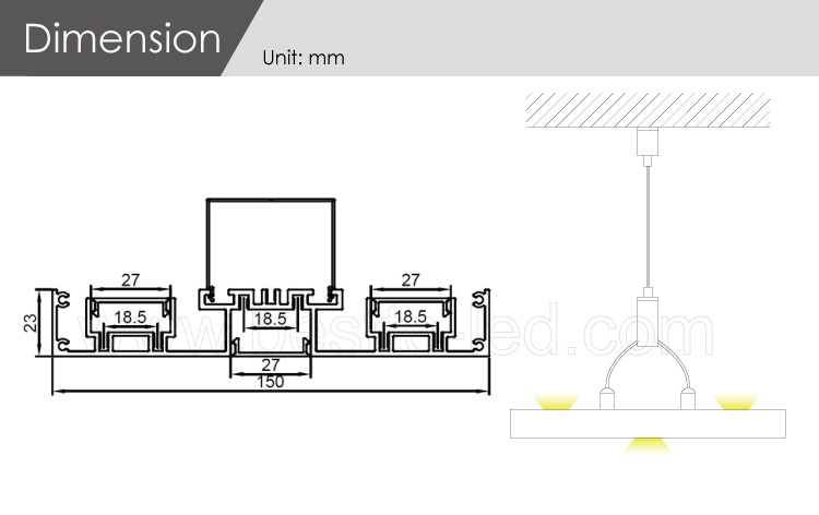 W150H23 mm 3 lighting areas up and down lighting DIY LED linear lighting system matching with zhaga standard rigid strip light