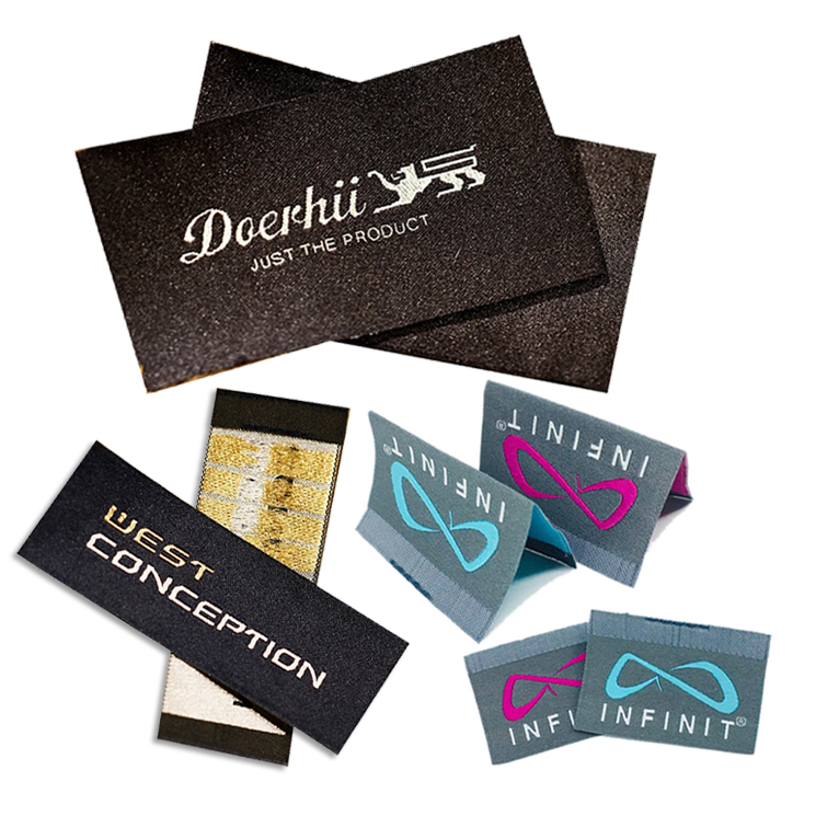 Straight Cut Garment Shirt/ T-Shirt Labels Tags Label Customized Brand Name Logo Damask Woven Labels