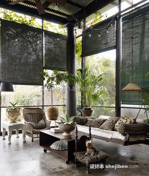 Charcoal - Roll Up 100%Bamboo Matchstick Blinds