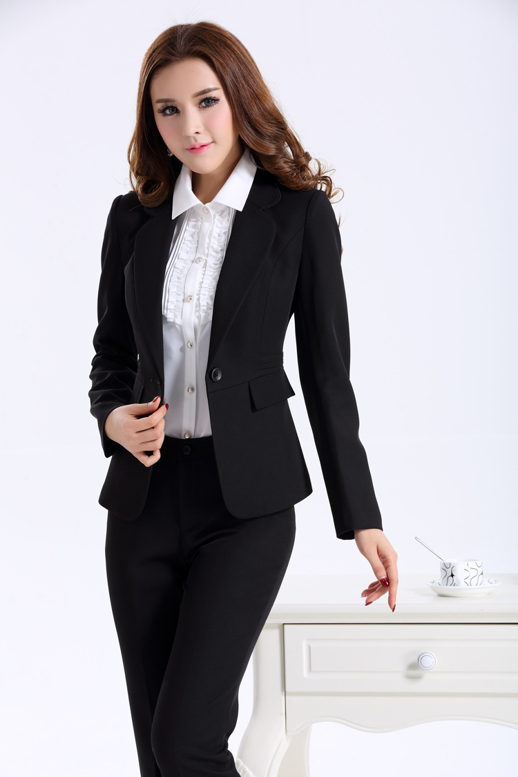 Women Business Suits Formal Office Work Wear Autumn Winter 2017 New Elegant Las Uniform Style Pant Suit Black