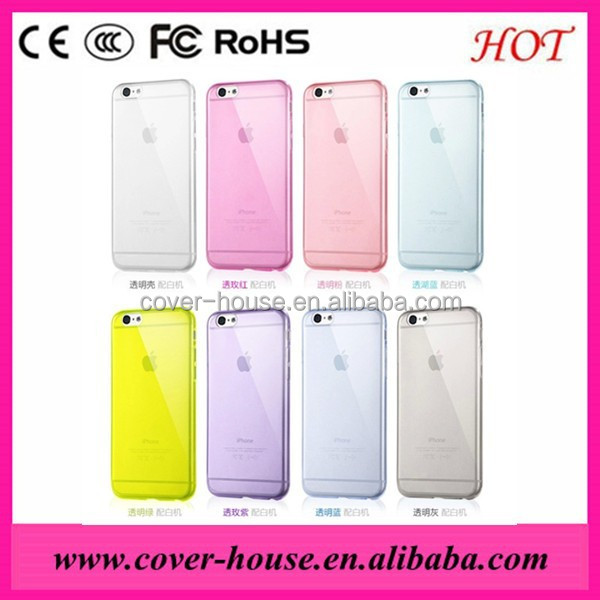 Factory price Hot Selling Colorful 0.3mm Ultra-thin TPU Back Cover Case For iPhone6 Plus